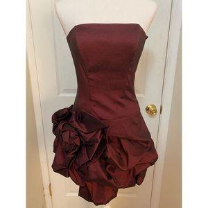 New short cranberry satin strapless cache dress!